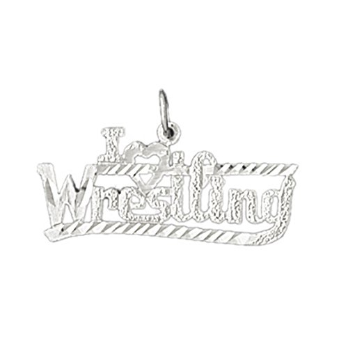 14k White Gold I love wrestling Pendant (25 x 19 mm) by Eaton Creek Collection