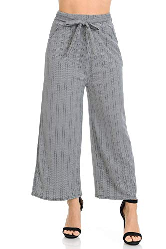 (Auliné Collection Womens High Waisted Wide Leg Culottes Cropped Palazzo Pants - B&W Chevron S/M)