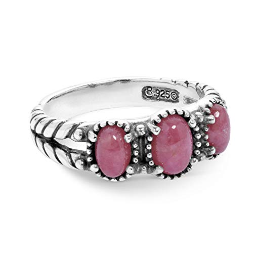 American West Sterling Silver Pink Rhodonite Gemstone 3-Stone Friendship Ring Size ()