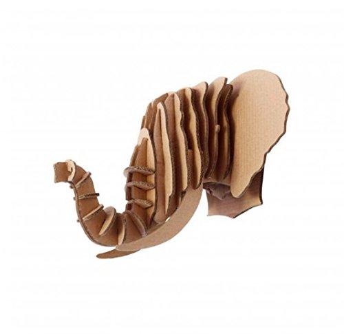 Puzzle testa Animal Elefante 3d di cartone, Scultura per decorazione da parete, Marrone, 25x 25. Helio Ferretti
