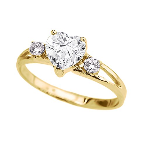 Precious 10k Yellow Gold CZ Heart Proposal/Promise Ring with White Topaz (Size 8) ()
