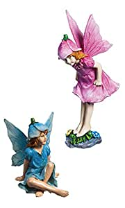 New Creative Pink and Blue Fairy 2-Piece Mini Garden Set