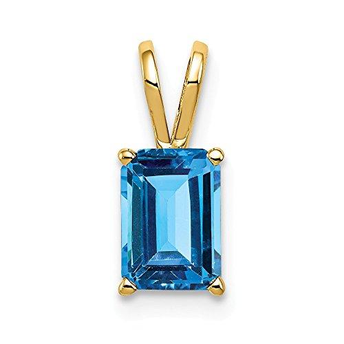 Jewelry Adviser Pendants 14k 7x5mm Emerald Cut Blue Topaz pendant