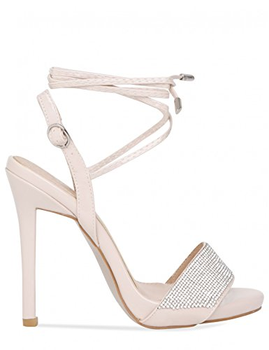 LAMODA Womens Strappy Lace up Heels with Diamante Detail in PU Nude 4PLk6aj