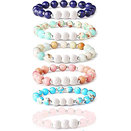 Bracelet Beaded Worry Dont - Adramata 6Pcs Lava Rock Stone Aromatherapy Essential Oil Diffuser Bracelet for Women Girls Natural Gemstone Healing Crystal Bracelet