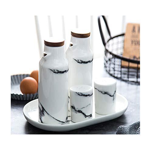 - MAI&BAO Oil Vinegar Bottle Pot Dispenser Kitchen Ceramics Olive Sauce Dispenser Dust Proof and Leak-Proof Wooden Bottle Cap Prevents Oxidation 400ML White Marble Pattern