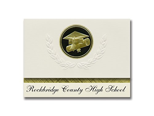 Signature Announcements Rockbridge County High School (Lexington, VA) Graduation Announcements, Presidential style, Elite package of 25 Cap & Diploma Seal Black & Gold