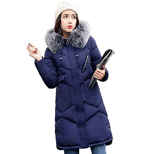 Grueso Azul Mujeres Algodón Cálido Oplon Larga Sólido Manga Casual Invierno Capucha Escudo Abrigos Con Delgado gw7CHq