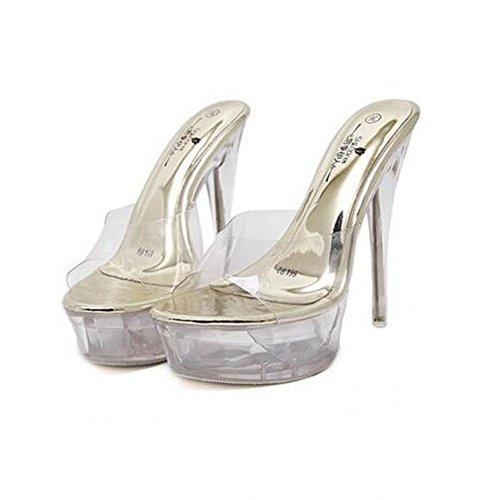 Fiesta Heel Ladies Talón Summer Light Fall Stiletto Club Zapatos 38 de Crystal para Mujer Oro Tacones PVC Zapatos Color Up Zapatos talón tamaño Crystal Translúcido Tacón 6xpwqA1ZW