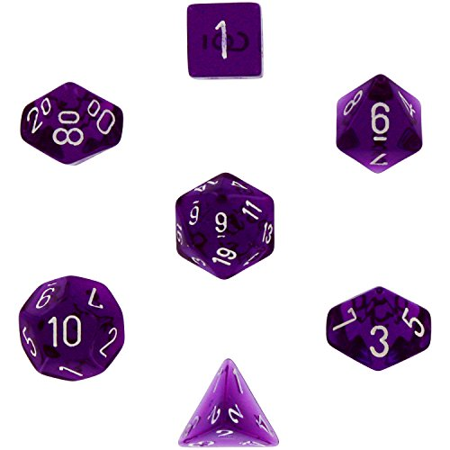Polyhedral 7-Die Translucent Chessex Dice Set - Purple