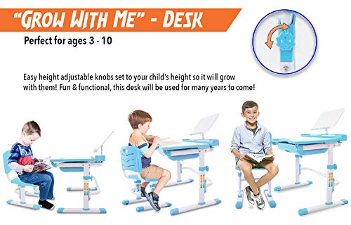 41MiKzvhknL - VIVO Height Adjustable Children's Desk and Chair Set, Grey