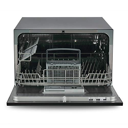 3e73ddeeccd Black Compact Countertop Dishwasher Stainless Steel 6 Wash Cycles  Convenience Singles Couples Apartments or Office Kitchen