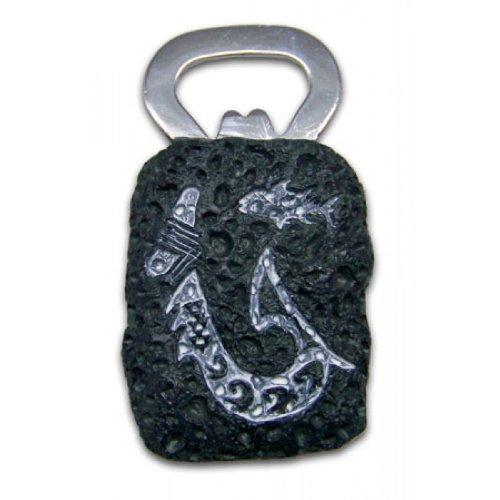 Hawaiian Tribal Hook Lava Rock Bottle Opener with Magnet