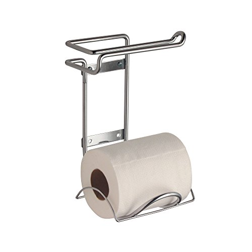 - mDesign Compact Wall Mount Toilet Tissue Paper Roll Holder and Dispenser for Bathroom Storage - Holds 1 Extra Roll - Space Saving Design - Durable Metal Wire in Chrome Finish