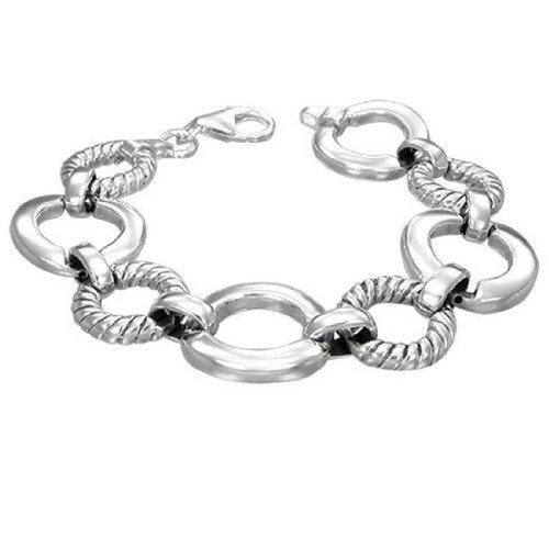 Cercle en argent Sterling 925 avec Bracelet pour femme Chaîne avec fermoir -