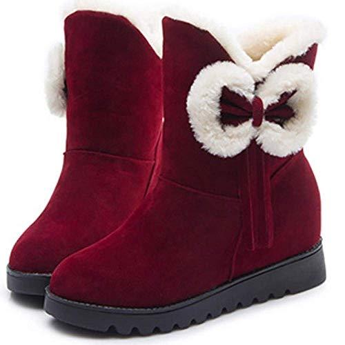D'hiver 39 Femmes Avec Noir Oudan Pour Rouge coloré Bottes Taille Noeud Bottines Chaudes cPnnYaOf