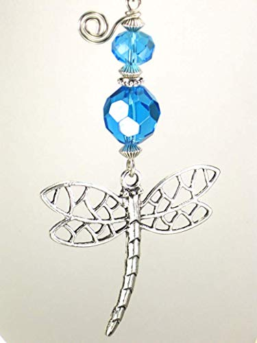 Turquoise Blue Silvery Metal Openwork Dragonfly Ceiling Fan Pull Chain
