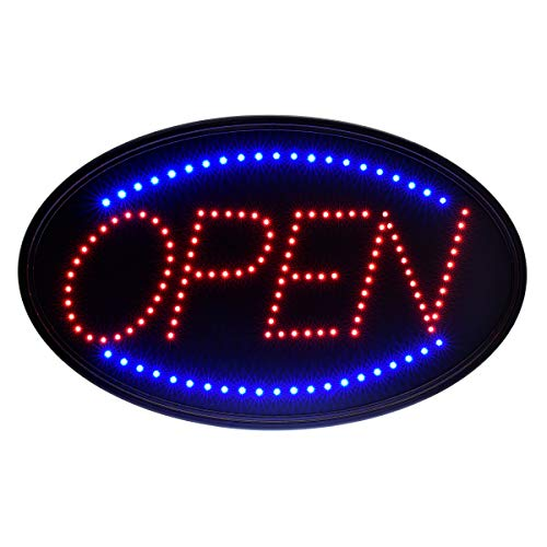 Alpine Industries LED Open Sign - Electronic Lighted Board w/Flash & Steady Mode - Provides Classy Techno Display - for Shops & Cafes (Oval, 23