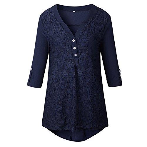 Tops Blouse Fashion Marine Moussline Haut Aswinfon Manche Col Chemise Bleu Dentelle Chemisier 4 Shirt Femme Tee 3 V Chic fqqwE41nP
