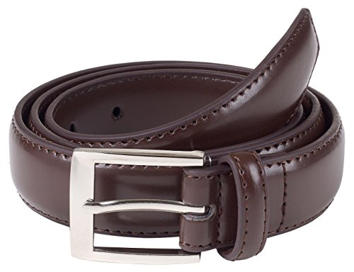 Brown Genuine Belt (Sportoli8482; Mens Classic Stitched Genuine Leather Uniform Belt - Brown)