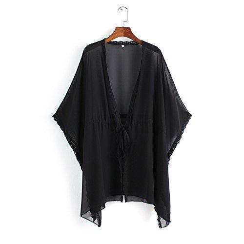Solatin Lace Border Chiffon Kimono Swimsuit Cardigan Tops/ Bikini Cover up Black S