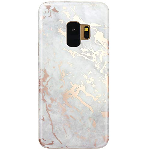JIAXIUFEN Galaxy S9 Case Shiny Rose Gold Gray Marble Design Clear Bumper TPU Soft Rubber Silicone Cover Phone Case for Samsung Galaxy S9