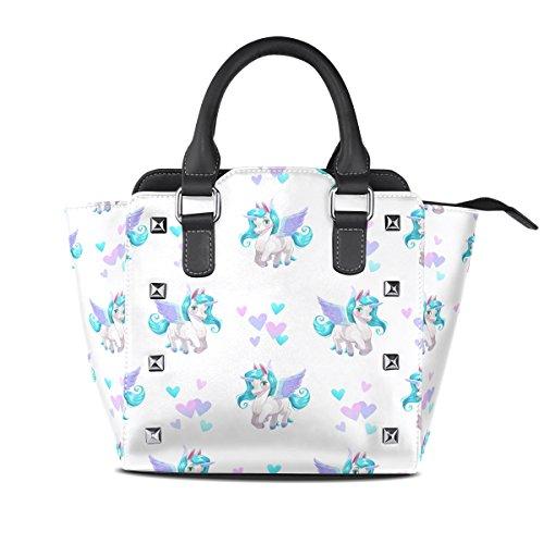 Handle PU Cute Cartoon Top Bags Leather Women's TIZORAX Pegasus Handbags Shoulder UZ8awxXq