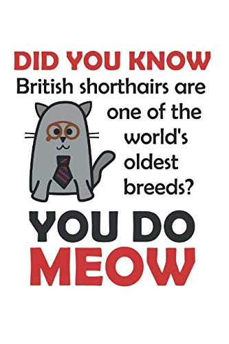You Do Meow: Journal for Cat People British Shorthair Cat Facts Pun Funny Cartoon Design (Notebook, Diary) ()