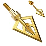 Newland Broadheads Fixed Blade One-Piece Self-Adjustable Weight Repeated Penetration Stainless Steel Broadhead, 3 100Grains Broadheads and 3 25Grains Brass Collar per Pack For Sale