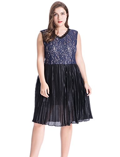 Chicwe Women's Full Lined Scalloped V Neck Floral Lace Plus Size Dress with Pleated Skirt Size 3X Navy Lined V-neck Skirt