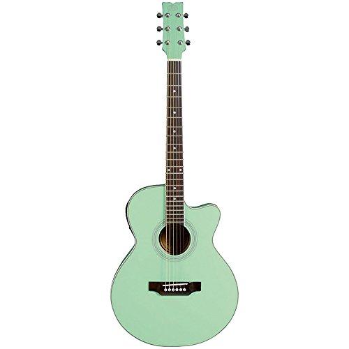 JB Player JBEA15AQ Acoustic Electric Guitar, Aqua Green