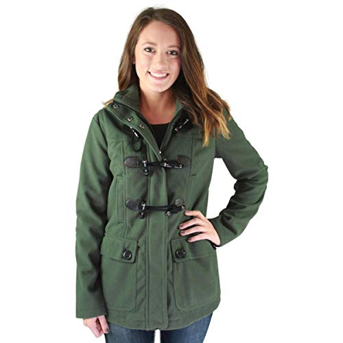 Womens Hooded Toggle - Urban Republic Juniors Faux Wool Hooded Toggle Coat Green Size M