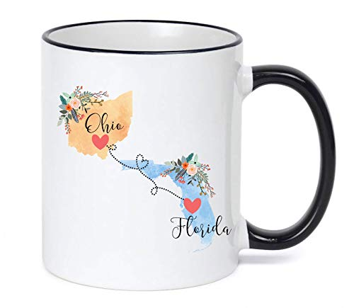 Ohio Florida Mug State to State Coffee Cup Gift Two State Mug Best Friend Mom Girlfriend Aunt Grandma Birthday Summer Vacation Going Away Present Moving New Job Gifts