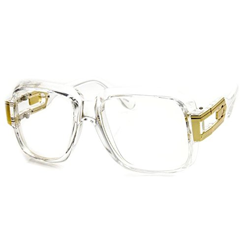 MLC Eyewear Oversized Rectangular Hip Hop Nerdy Clear Lens Glasses - Costume Eyewear