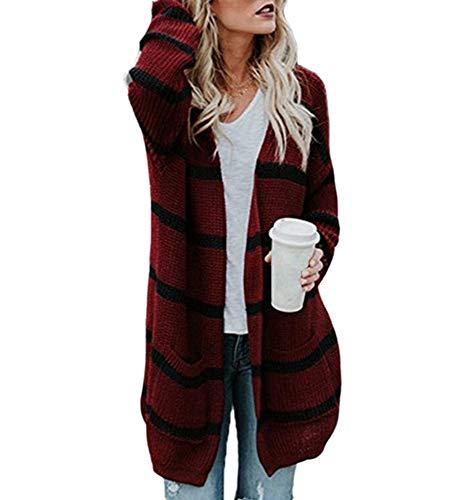 Coprispalle Cappuccio Cozy Huateng Righe Cardigan Winter Lavorato Warm Da Maglia Con Cape Autumn Rosso Donna A Coat 6Y6zgwq