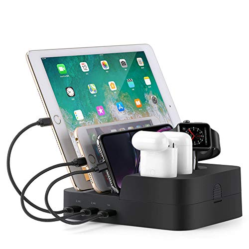 Ocim 6 Port USB Charging Station,Multiple Devices Desktop Charger Docking Organizer Compatible for Airpods Apple iWatch iPhone iPad Tablets and Smart Cell Phones from Ocim