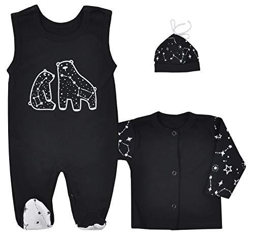 Fifiloo Baby 3-delige babyset romper/shirt/muts voor jongens en meisjes kledingset, zwart (zwart universe), 80 (12…