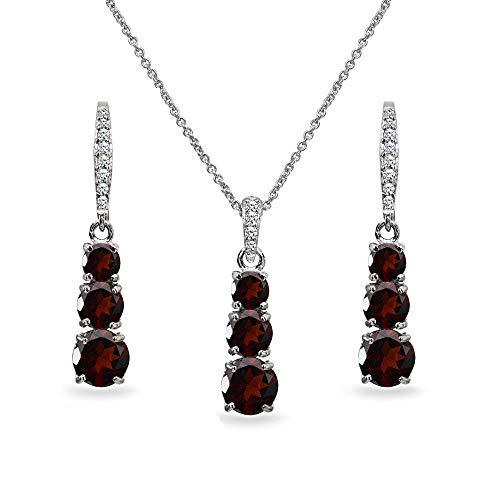 (Sterling Silver Garnet 3-Stone Journey Pendant Necklace & Dangle Leverback Earrings Set for Women Teen Girls)
