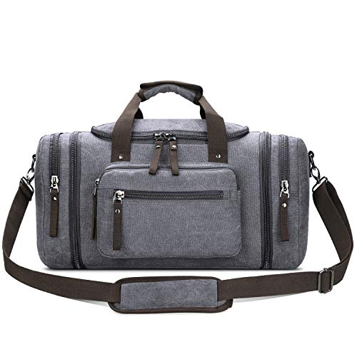 l Bag Small Carry-on Bag Overnight Bag Weekender Bag for Men (Grey) ()