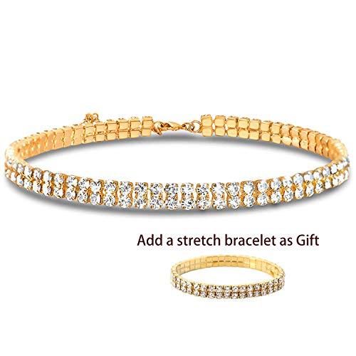 (Zealmer 2 Row Diamond Rhinestone Choker Necklace for Girls)