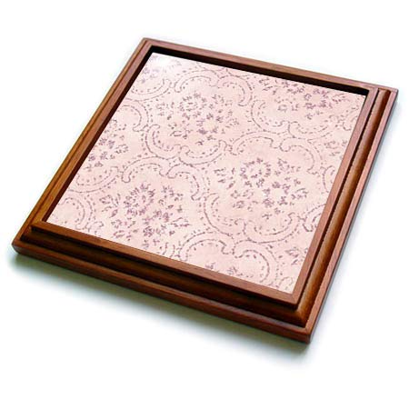 3dRose Anne Marie Baugh - Patterns - Pretty Pink Image Of Glitter Ornamental Pattern - 8x8 Trivet with 6x6 ceramic tile (trv_316287_1)