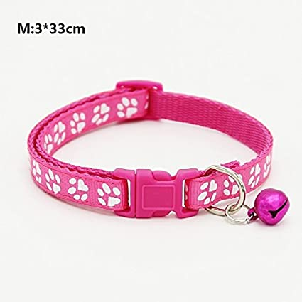 Happy-little-bear Paw Print Design Pet Collar Ajustable Cat Collar con Bell Quick