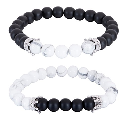 EVELICAL 2Pcs 8MM Bead Bracelet for Men Women Distance Couples Bracelets Queen Beads Elastic