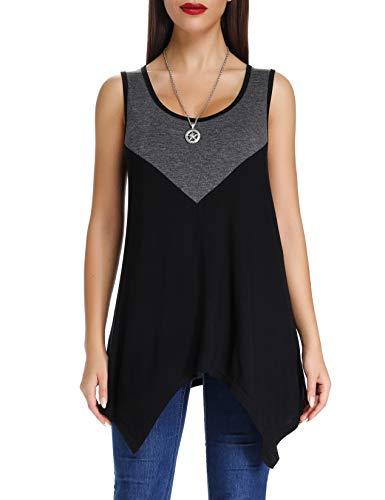 Handkerchief Top Hem - Acloth Women's Knit Color Block Sleeveless Tunic Handkerchief Hem Casual Tank Tops (L Grey+Black)