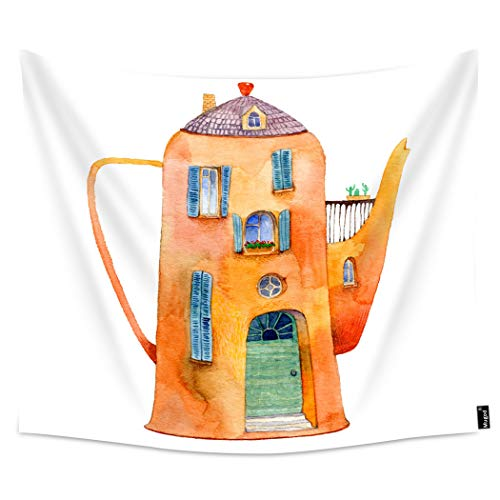Price comparison product image Mugod Castle Tapestries Old Cozy House in a Vintage Kettle Teapot Wonderland Wall Hanging Tapestry Decoration for Bedroom Living Room Dorm Polyester 80x60 Inch