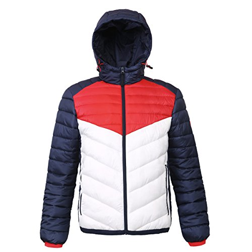 Rokka&Rolla Men's Lightweight Water Resistant Hooded Quilted Poly Padded Puffer Jacket ()