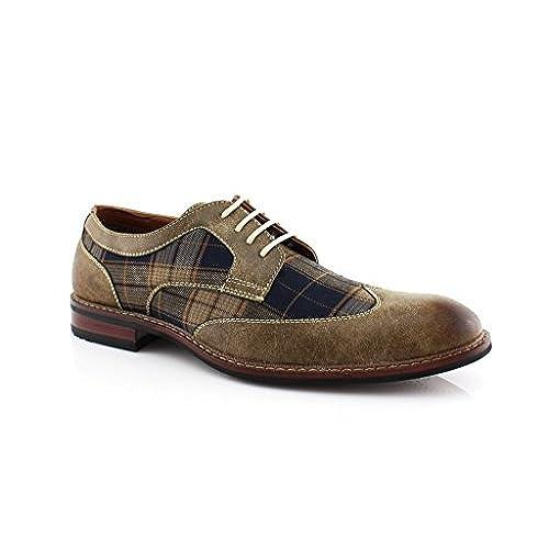 20182017 Oxfords Ferro Aldo M 19266A Brown Mens Lace Up Plaid Oxford Dress Classic Shoes Online