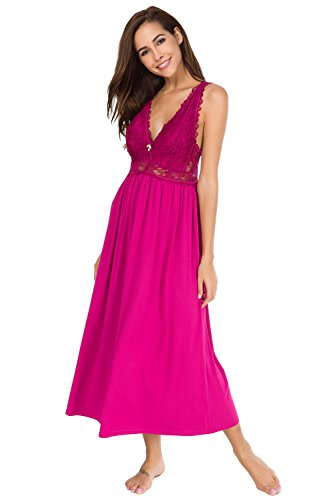 Alcea Rosea Chemise Sleepwear Nightgown Sleeveless Lace Cup Trim Knit Dress For Women (Rose, (Nightgown Long Chemise)