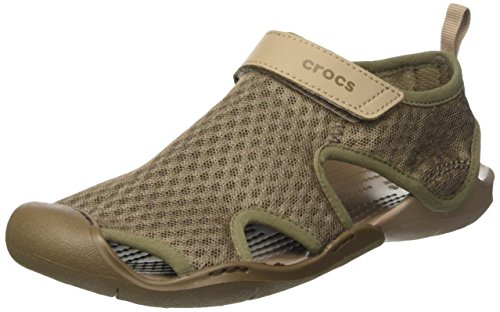 Crocs Women's Swiftwater Mesh W Flat Sandal, Walnut, 11 M US