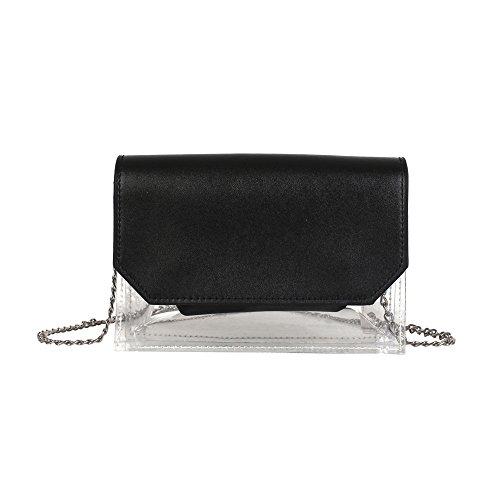 Price comparison product image MaxFox Women Girl PU&PVC Patchwork Candy Clutch Chains Hasp Bag Transparent Crossbody Shoulder Handbag (Black)
